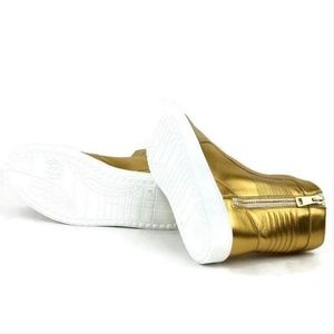 Gucci Shoes - Gucci Gold Leather High-top Sneakers 376193